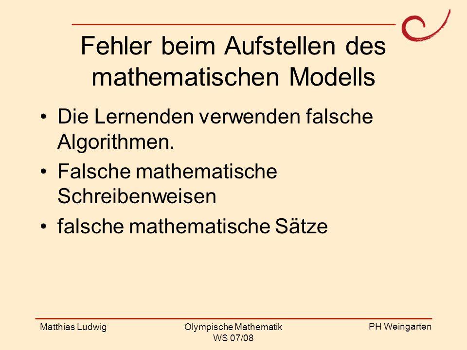 Fehler beim Aufstellen des mathematischen Modells