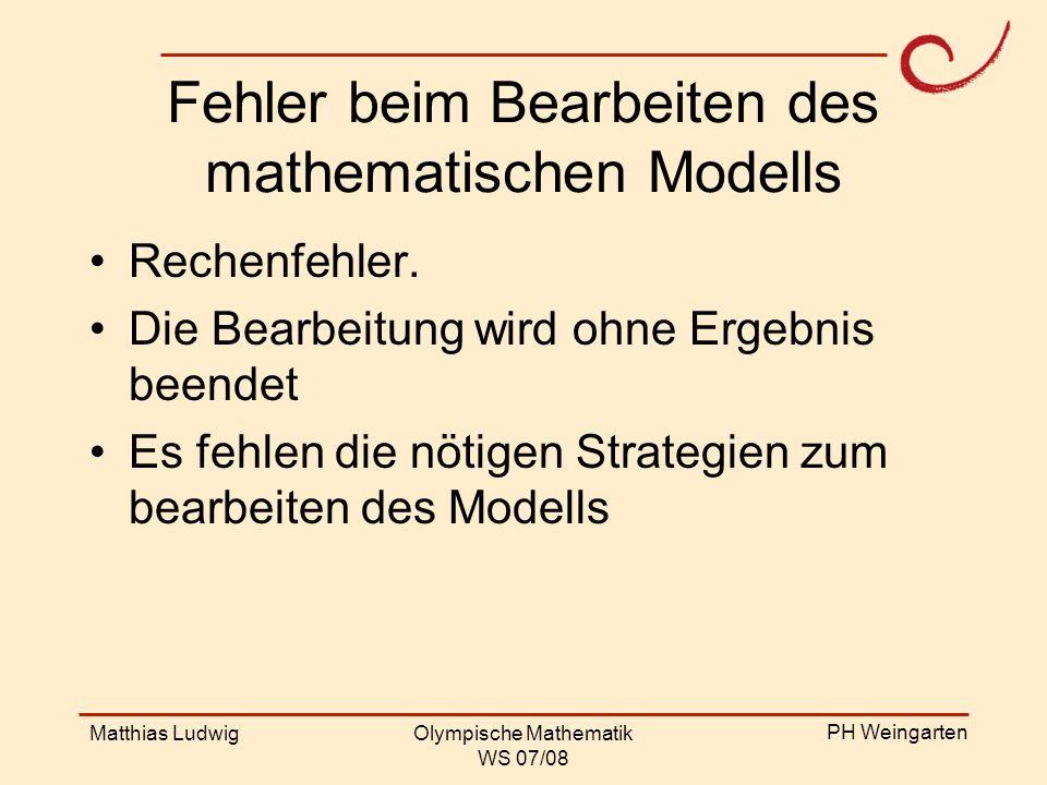 Fehler beim Bearbeiten des mathematischen Modells