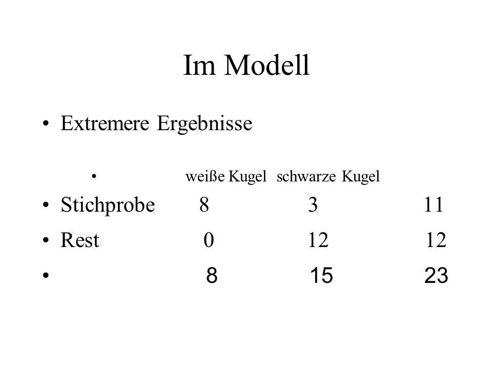 Im Modell Extremere Ergebnisse Stichprobe 8 3 11 Rest 0 12 12 8 15 23