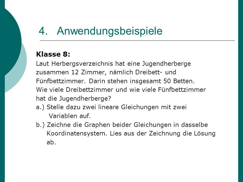 4. Anwendungsbeispiele Klasse 8: