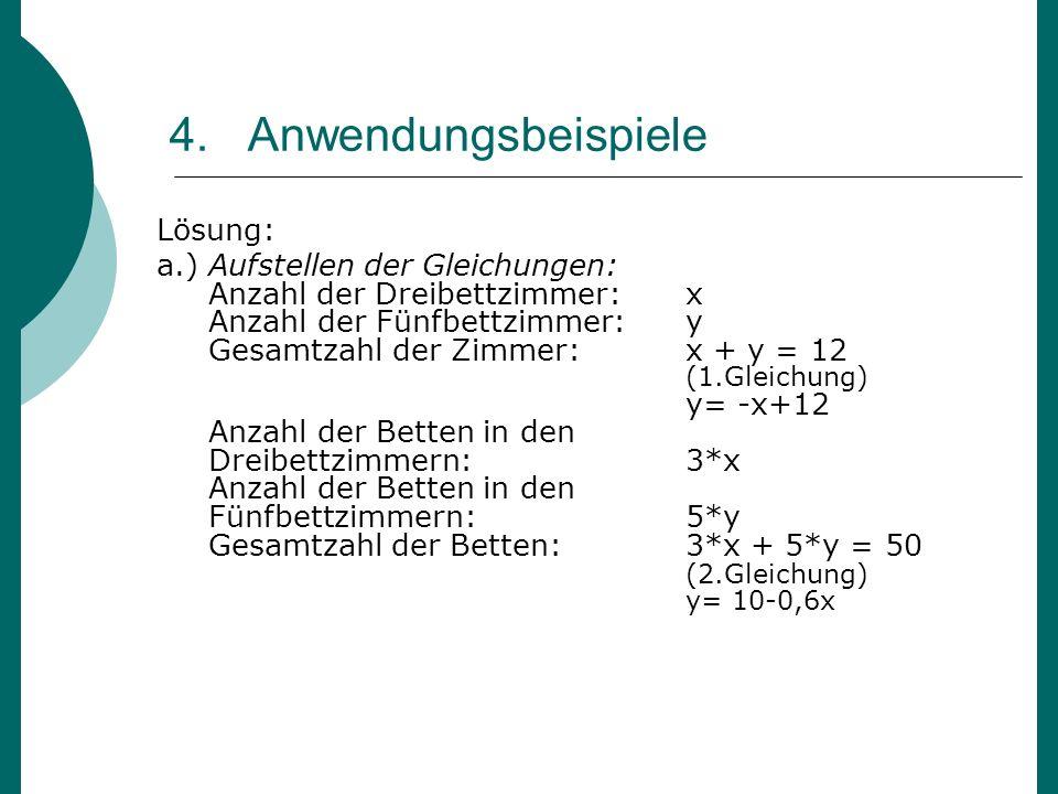 4. Anwendungsbeispiele Lösung: a.) Aufstellen der Gleichungen: