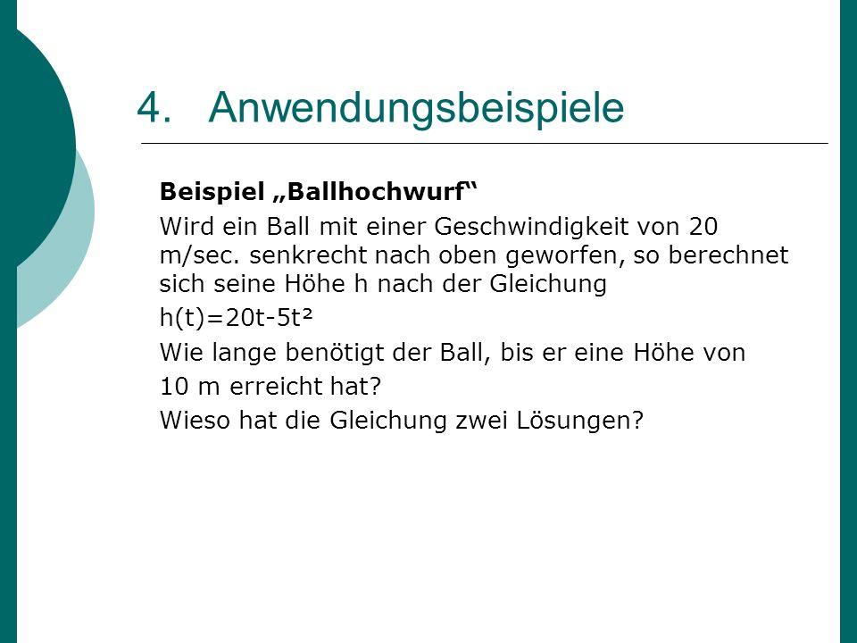 """4. Anwendungsbeispiele Beispiel """"Ballhochwurf"""