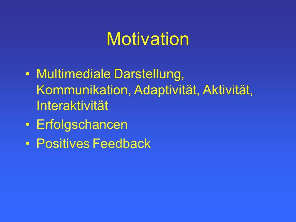 Motivation Multimediale Darstellung, Kommunikation, Adaptivität, Aktivität, Interaktivität. Erfolgschancen.