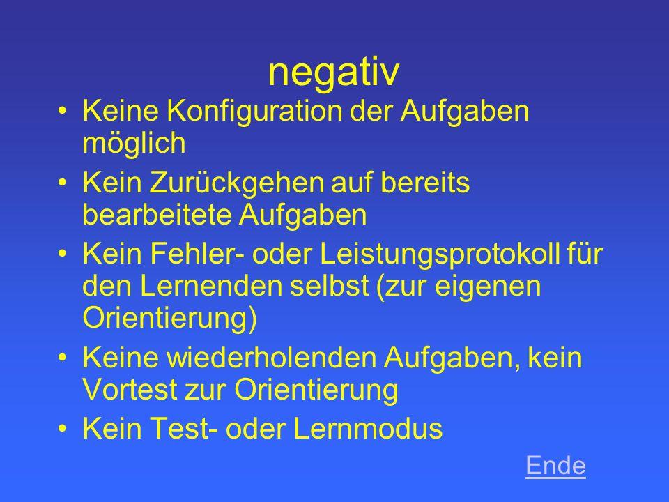negativ Keine Konfiguration der Aufgaben möglich