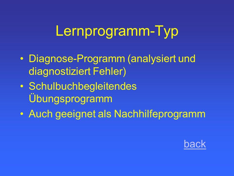 Lernprogramm-Typ Diagnose-Programm (analysiert und diagnostiziert Fehler) Schulbuchbegleitendes Übungsprogramm.
