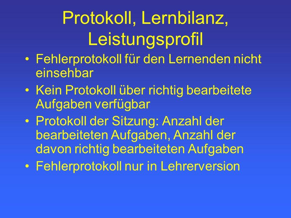 Protokoll, Lernbilanz, Leistungsprofil