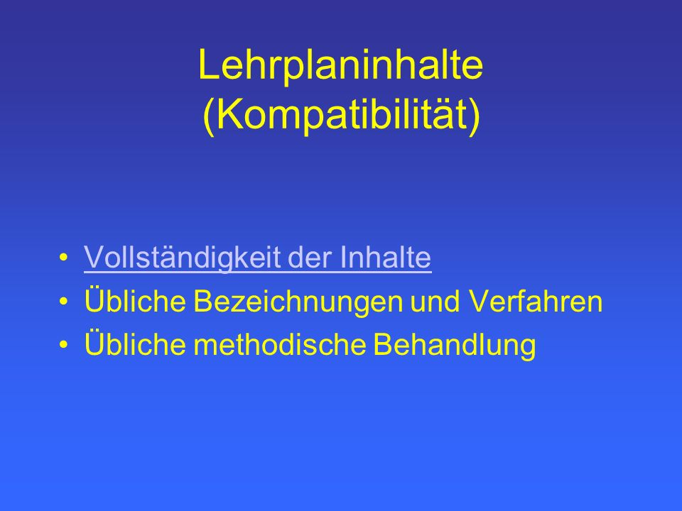 Lehrplaninhalte (Kompatibilität)