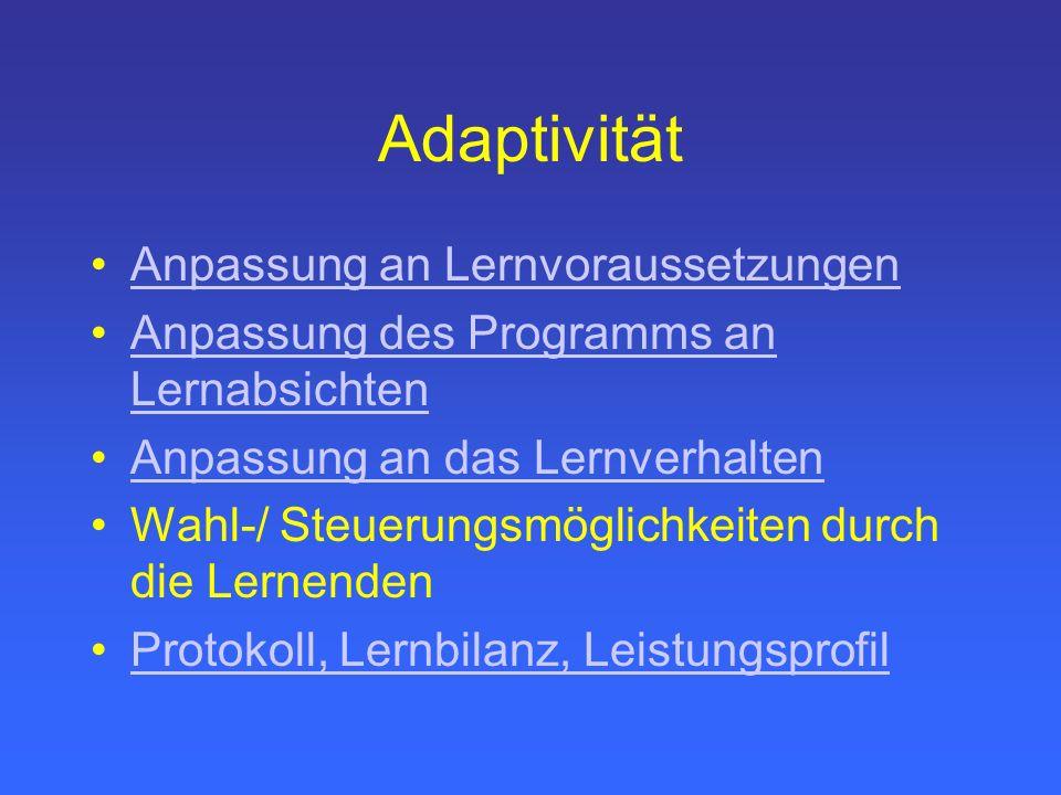 Adaptivität Anpassung an Lernvoraussetzungen