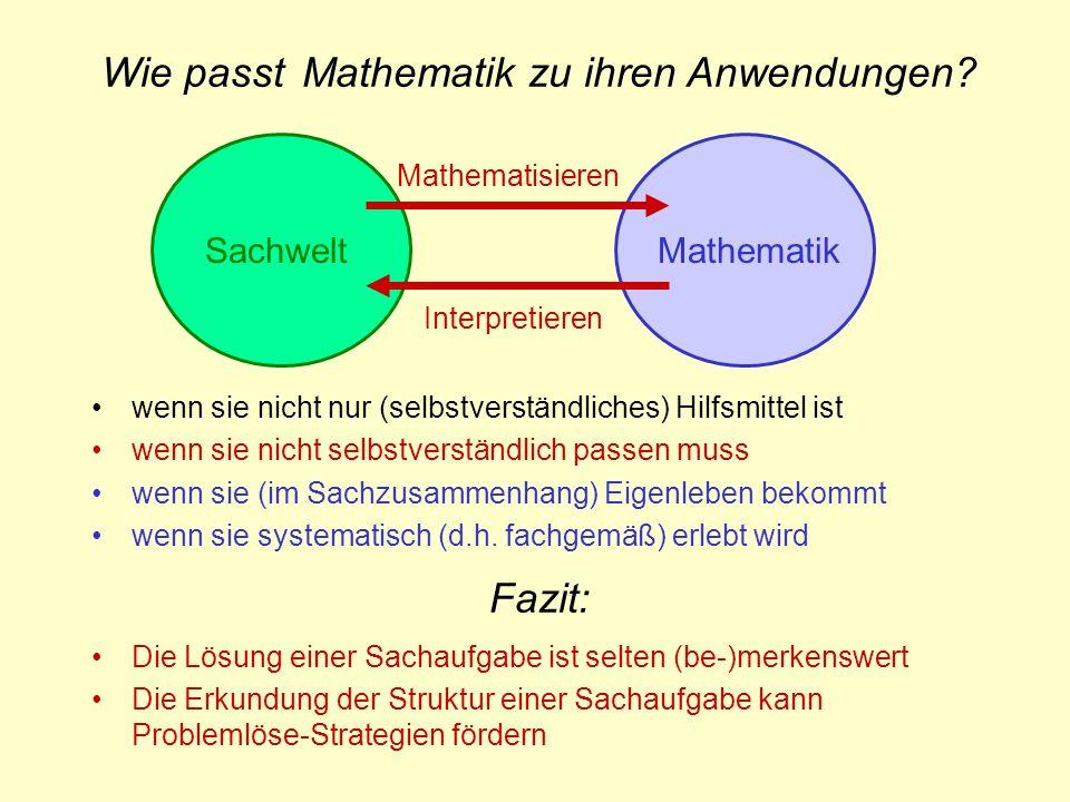Wie passt Mathematik zu ihren Anwendungen
