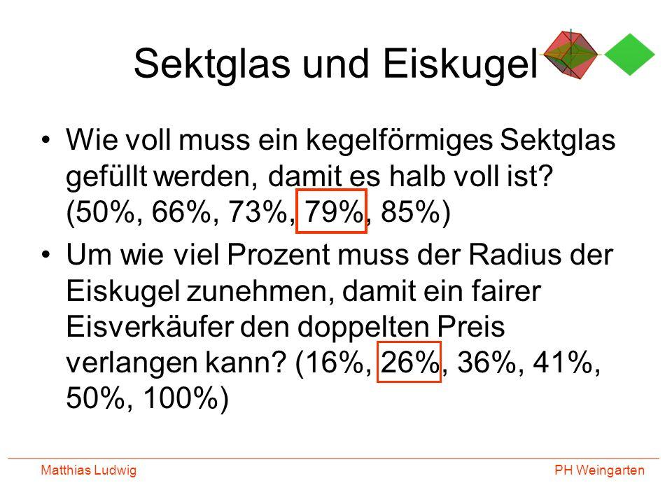 Sektglas und Eiskugel Wie voll muss ein kegelförmiges Sektglas gefüllt werden, damit es halb voll ist (50%, 66%, 73%, 79%, 85%)