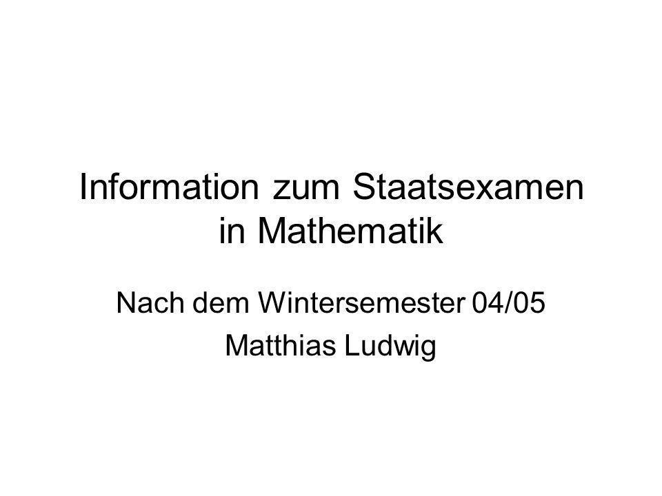 Information zum Staatsexamen in Mathematik