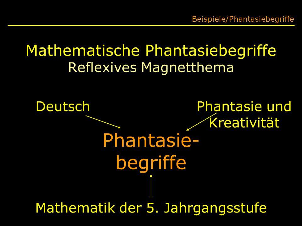 Mathematische Phantasiebegriffe Reflexives Magnetthema