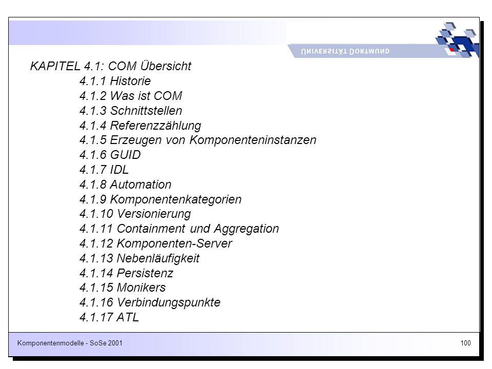 KAPITEL 4. 1: COM Übersicht. 4. 1. 1 Historie. 4. 1. 2 Was ist COM. 4