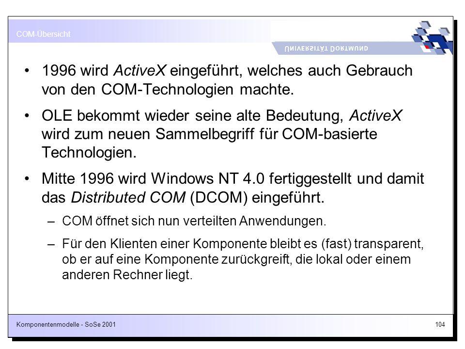 COM-Übersicht 1996 wird ActiveX eingeführt, welches auch Gebrauch von den COM-Technologien machte.
