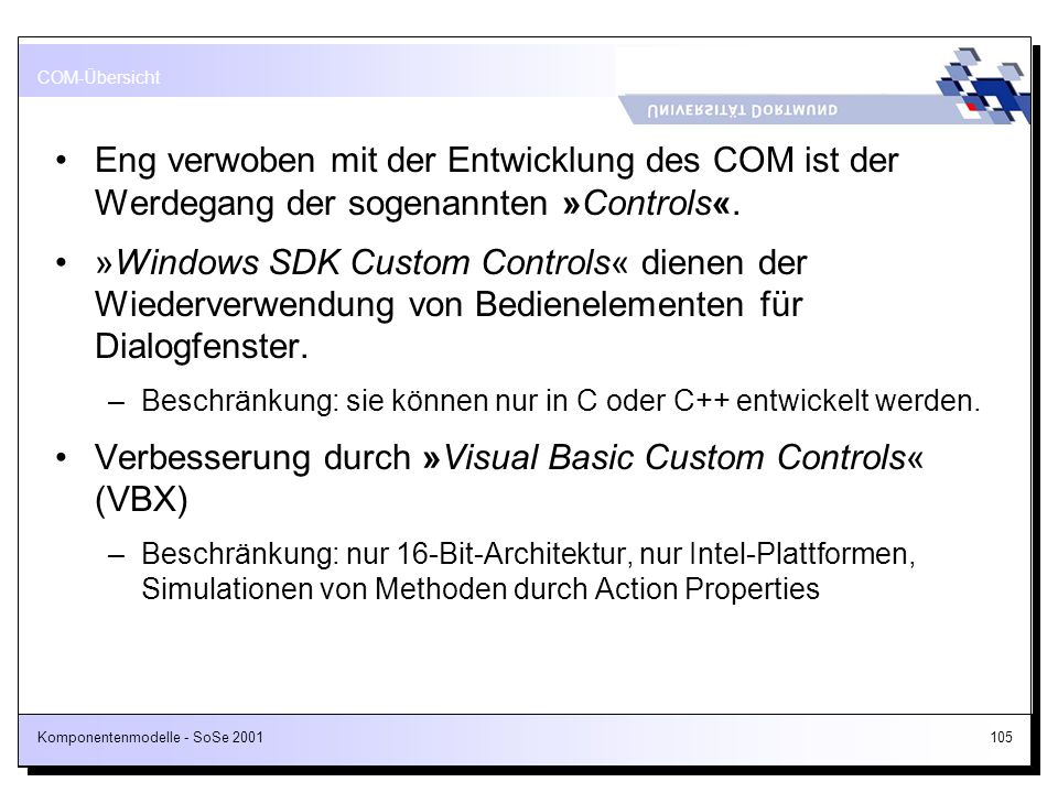 Verbesserung durch »Visual Basic Custom Controls« (VBX)