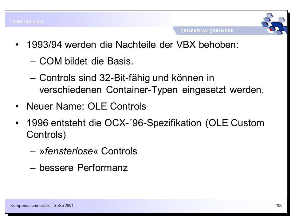 1993/94 werden die Nachteile der VBX behoben: COM bildet die Basis.