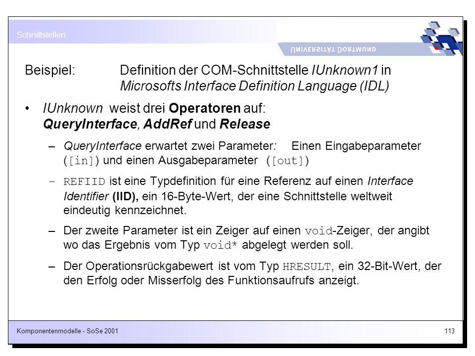 IUnknown weist drei Operatoren auf: QueryInterface, AddRef und Release