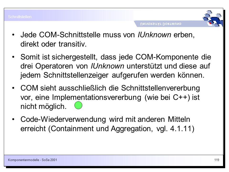 Jede COM-Schnittstelle muss von IUnknown erben, direkt oder transitiv.