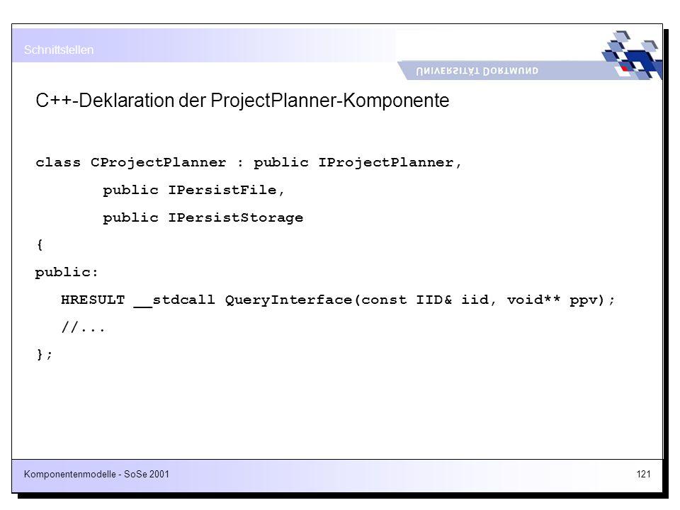 C++-Deklaration der ProjectPlanner-Komponente