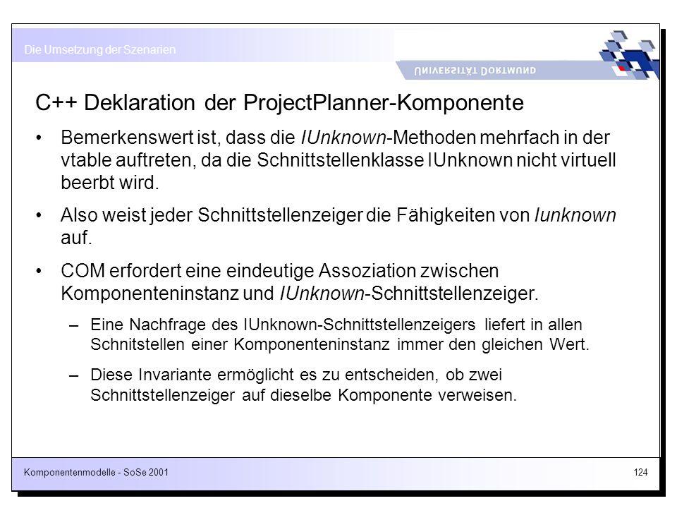 C++ Deklaration der ProjectPlanner-Komponente