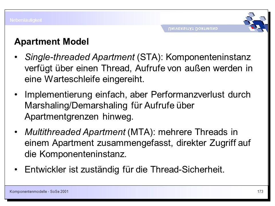 Entwickler ist zuständig für die Thread-Sicherheit.