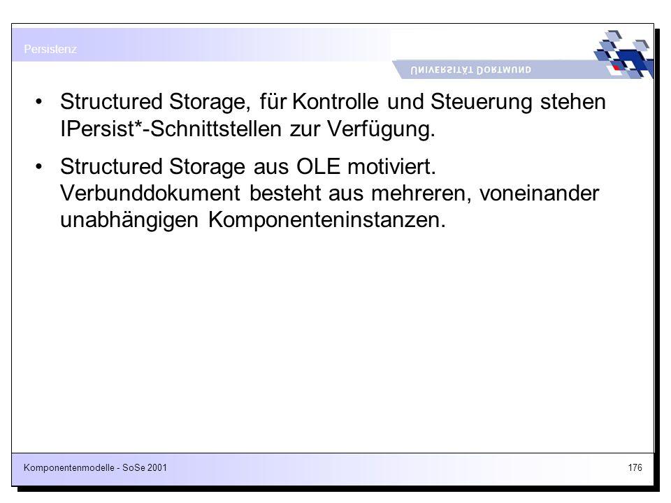 Persistenz Structured Storage, für Kontrolle und Steuerung stehen IPersist*-Schnittstellen zur Verfügung.