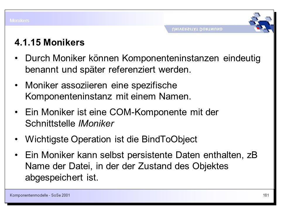 Ein Moniker ist eine COM-Komponente mit der Schnittstelle IMoniker