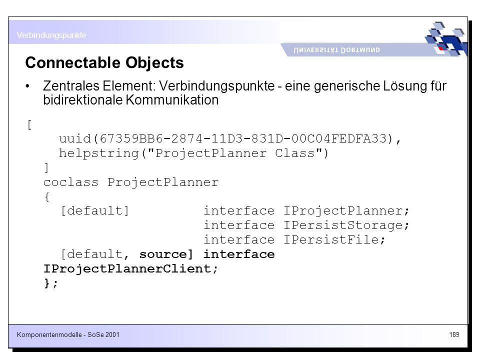 Verbindungspunkte Connectable Objects. Zentrales Element: Verbindungspunkte - eine generische Lösung für bidirektionale Kommunikation.