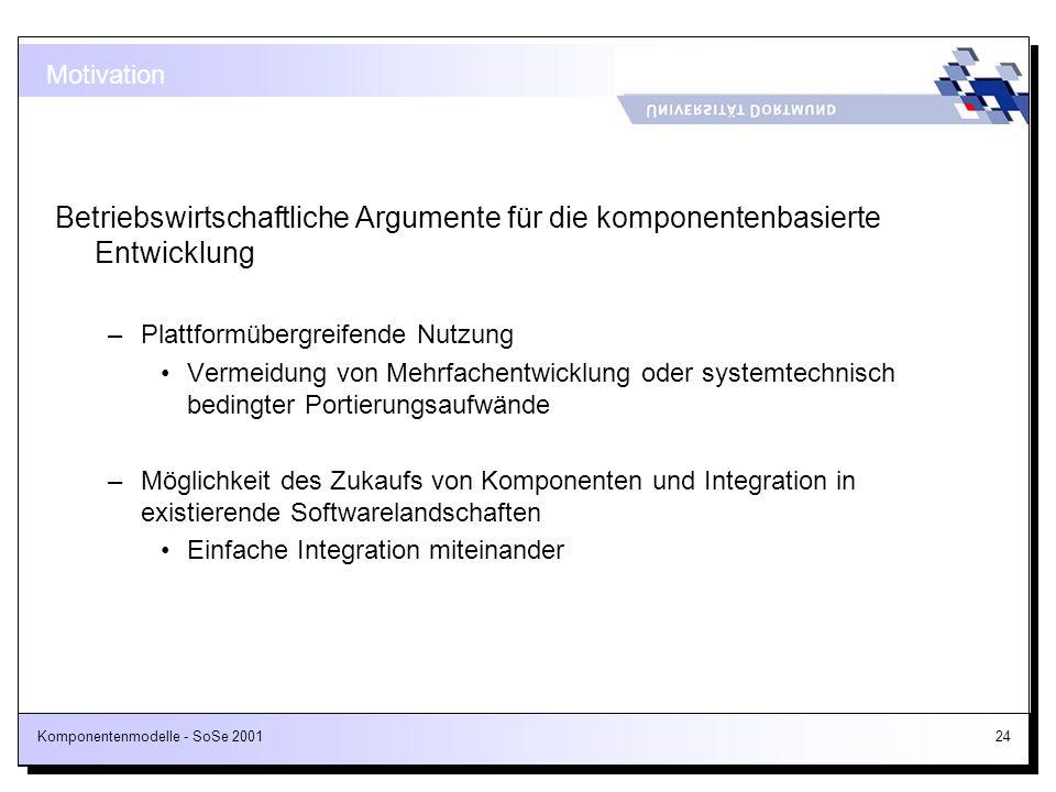 Motivation Betriebswirtschaftliche Argumente für die komponentenbasierte Entwicklung. Plattformübergreifende Nutzung.