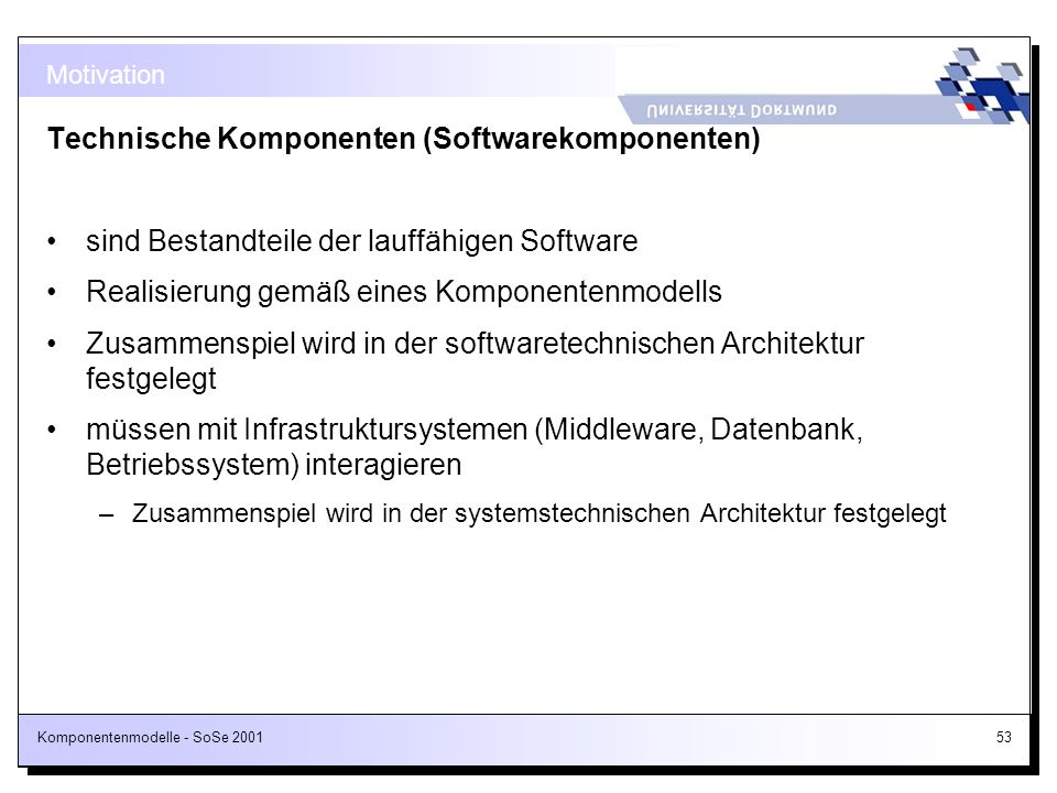 Technische Komponenten (Softwarekomponenten)