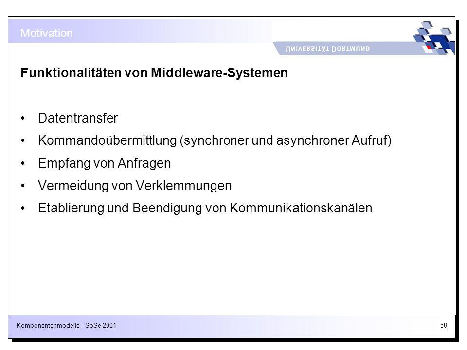 Funktionalitäten von Middleware-Systemen
