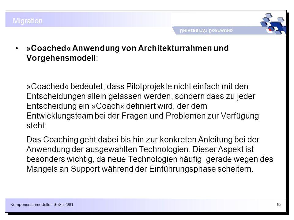 »Coached« Anwendung von Architekturrahmen und Vorgehensmodell: