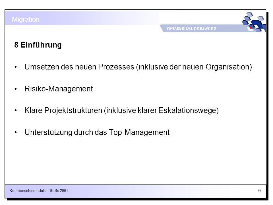 Umsetzen des neuen Prozesses (inklusive der neuen Organisation)