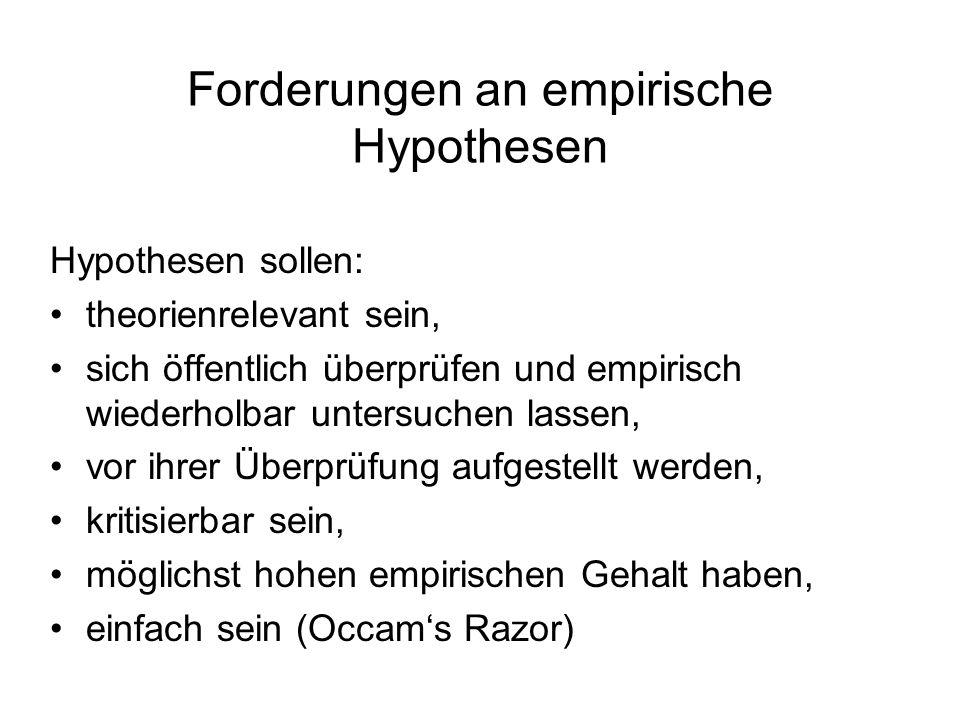 Forderungen an empirische Hypothesen