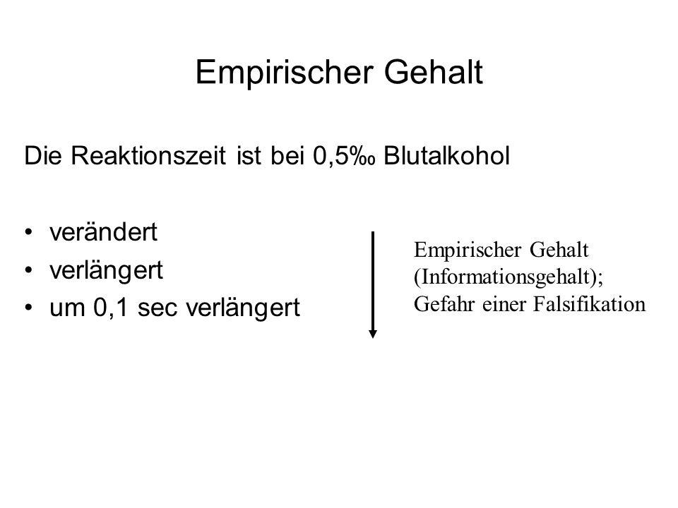 Empirischer Gehalt Die Reaktionszeit ist bei 0,5‰ Blutalkohol