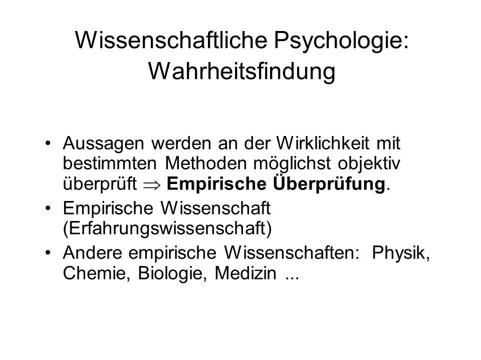 Wissenschaftliche Psychologie: Wahrheitsfindung