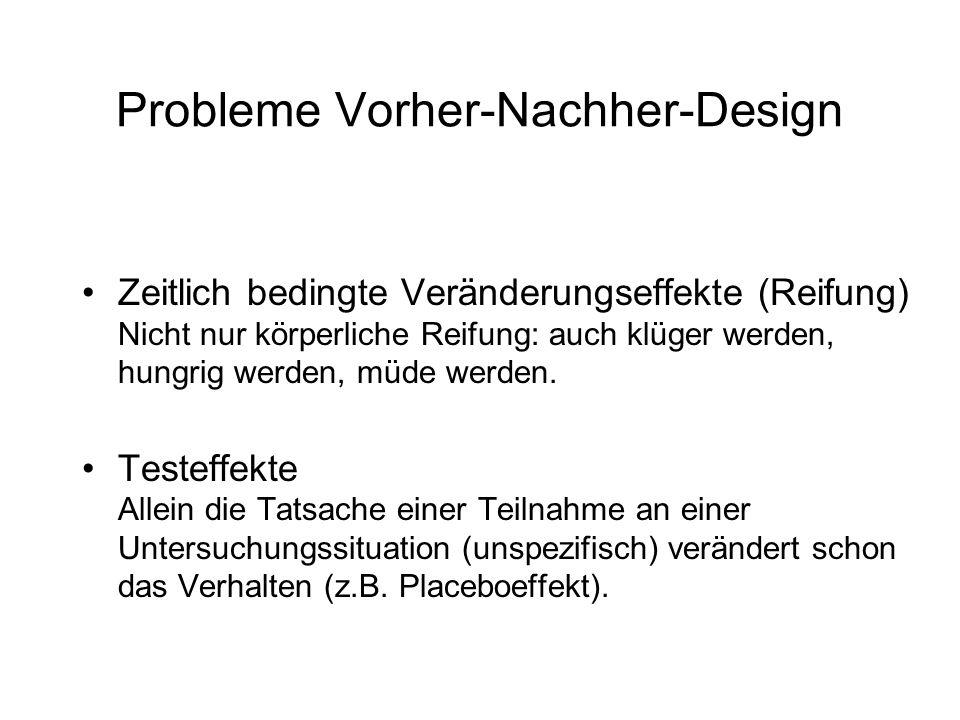 Probleme Vorher-Nachher-Design