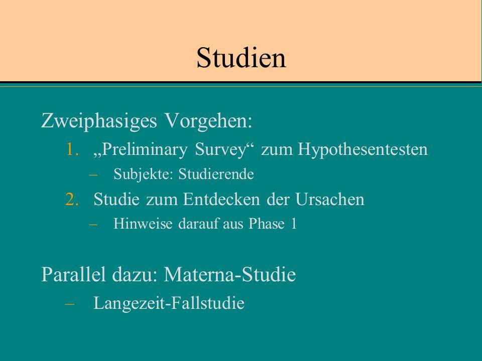 Studien Zweiphasiges Vorgehen: Parallel dazu: Materna-Studie