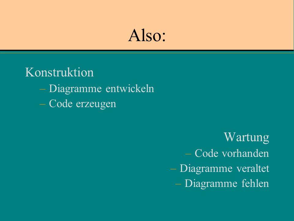 Also: Konstruktion Wartung Diagramme entwickeln Code erzeugen