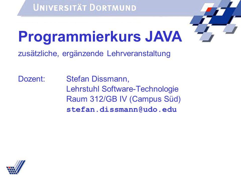 Programmierkurs JAVA zusätzliche, ergänzende Lehrveranstaltung