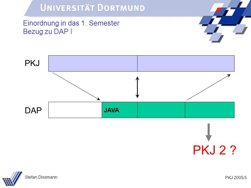 Einordnung in das 1. Semester Bezug zu DAP I