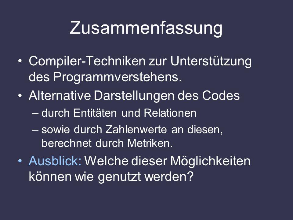 Zusammenfassung Compiler-Techniken zur Unterstützung des Programmverstehens. Alternative Darstellungen des Codes.