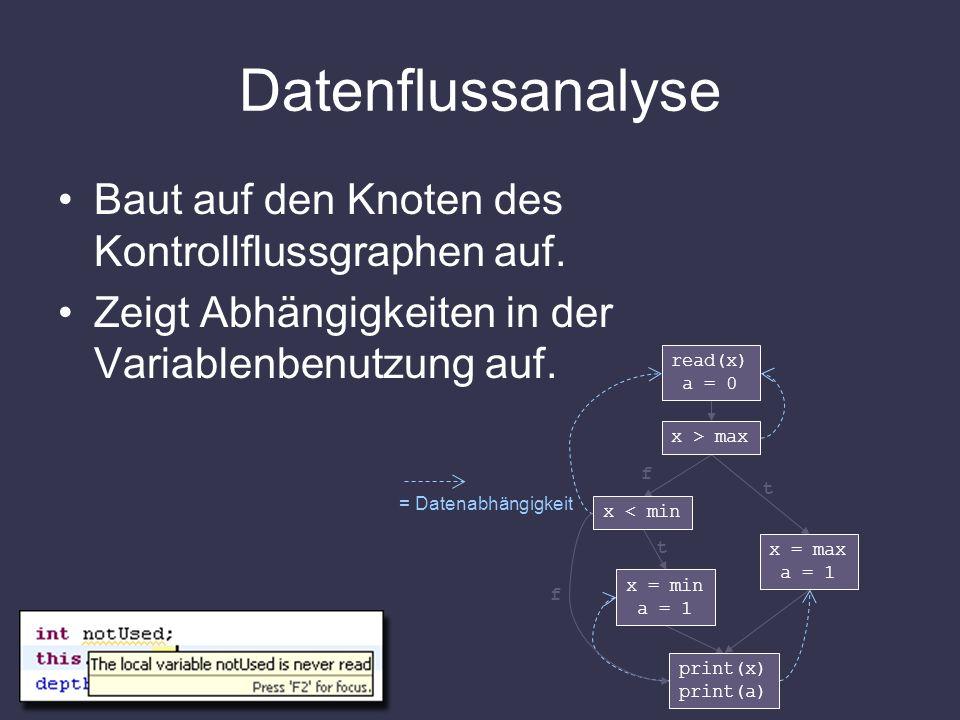 Datenflussanalyse Baut auf den Knoten des Kontrollflussgraphen auf.