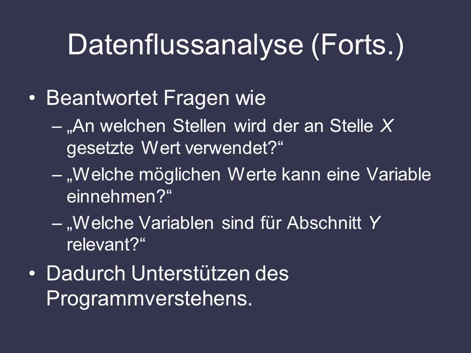 Datenflussanalyse (Forts.)