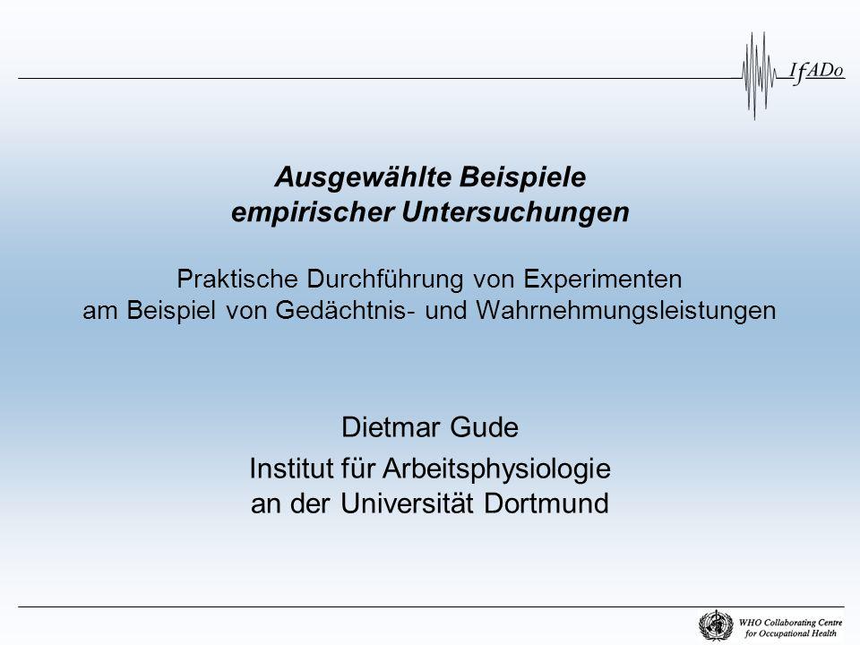 Institut für Arbeitsphysiologie an der Universität Dortmund