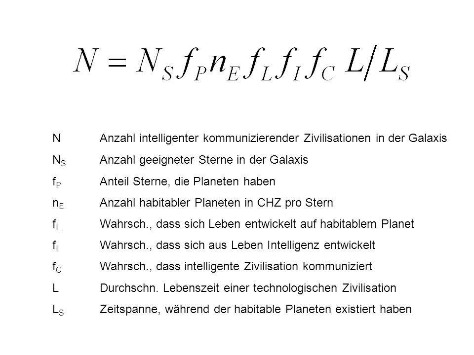 N Anzahl intelligenter kommunizierender Zivilisationen in der Galaxis