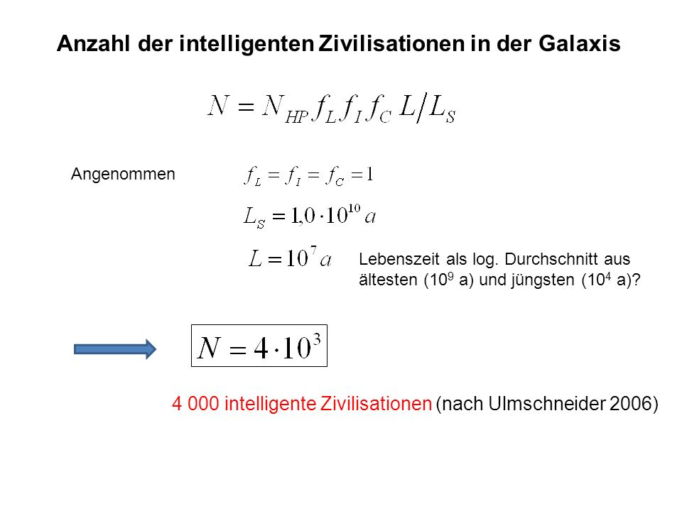 Anzahl der intelligenten Zivilisationen in der Galaxis