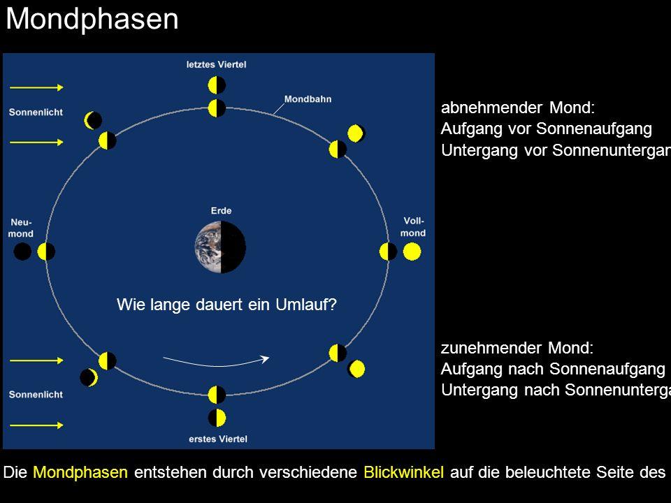 Mondphasen abnehmender Mond: Aufgang vor Sonnenaufgang