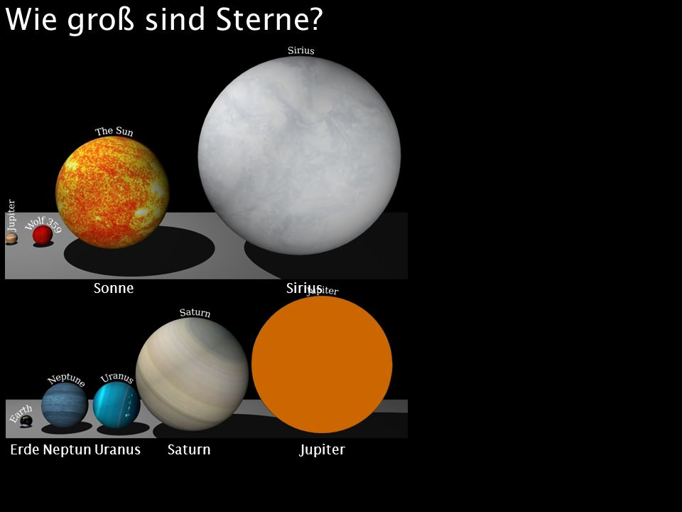 Wie groß sind Sterne Merkur Mars Venus Erde Sonne Sirius
