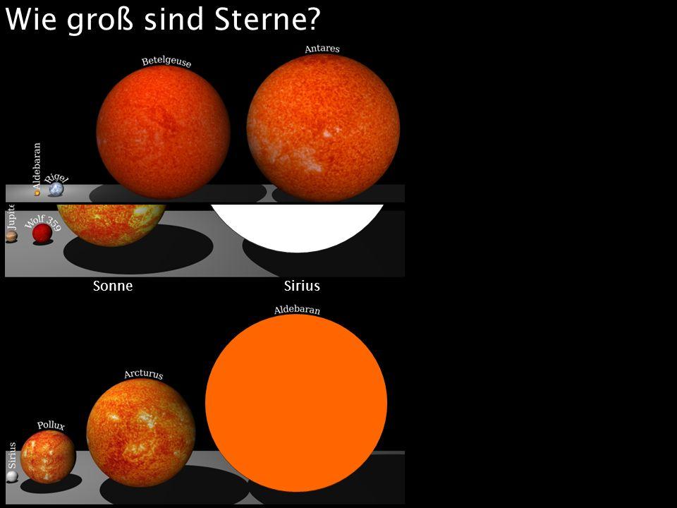 Wie groß sind Sterne Sonne Sirius